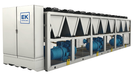 Large white and blue air cooled chiller being serviced, maintained and repaired