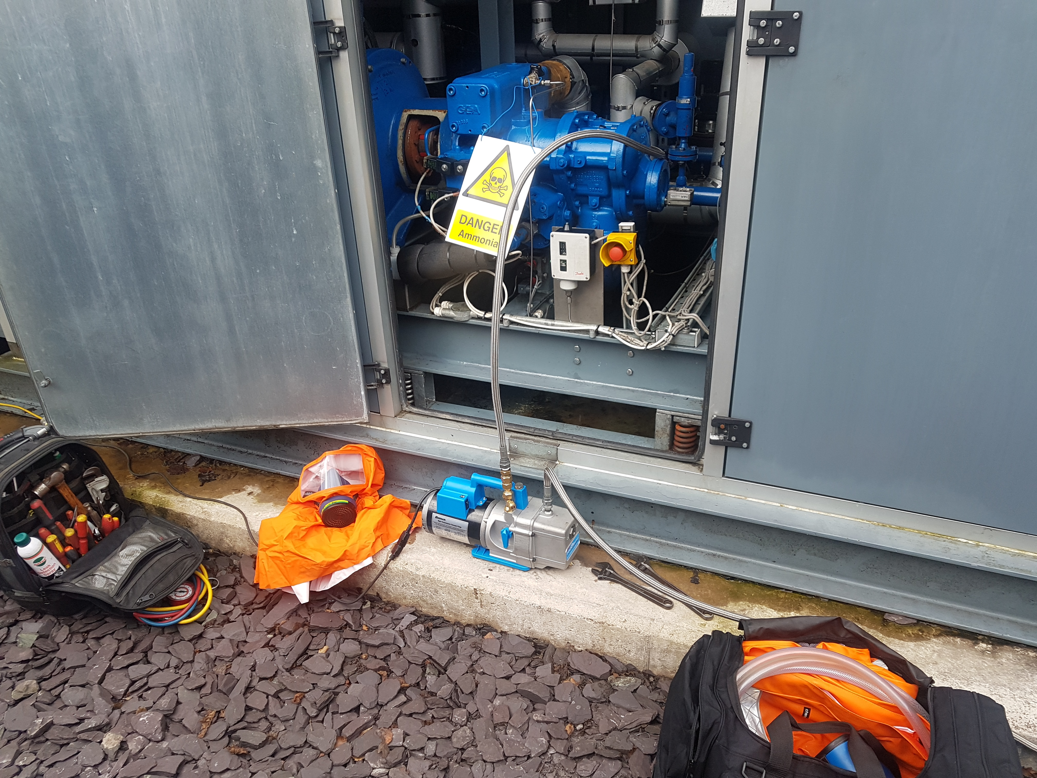 Industrial refrigeration equipment outside chiller