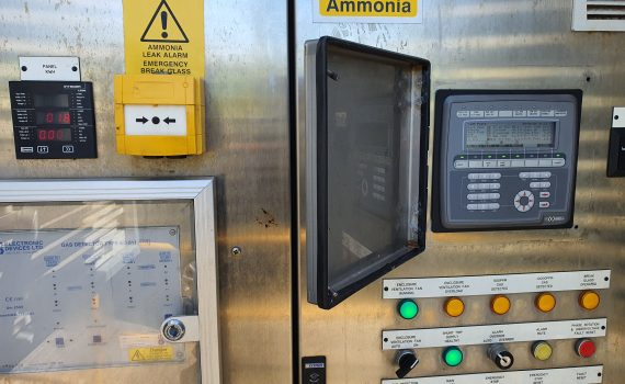 Controls panel open during chilling plant maintenance