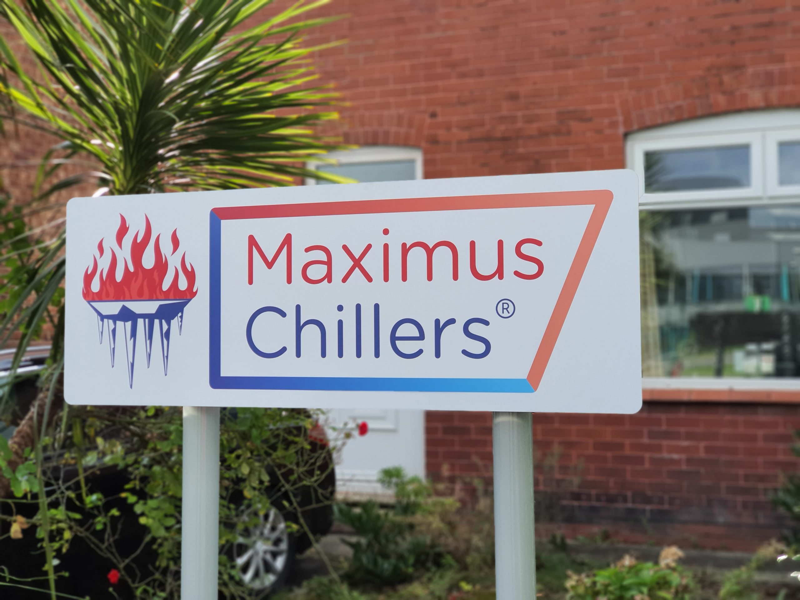 Maximus Chillers sign outside our chiller maintenance company office